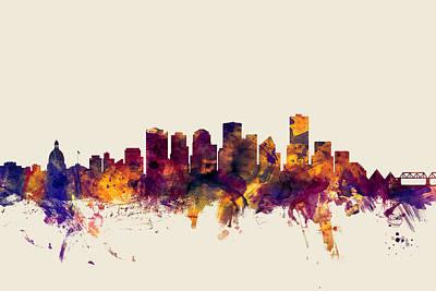 Edmonton Canada Skyline Poster by Michael Tompsett
