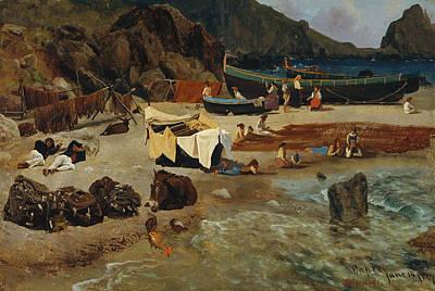 Fishing Boats At Capri Poster by Albert Bierstadt