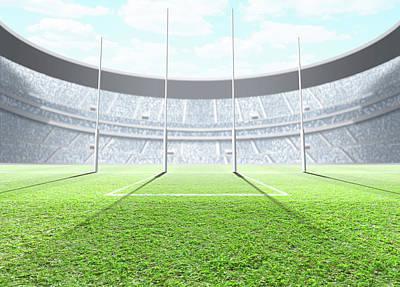 Floodlit Stadium Day Poster