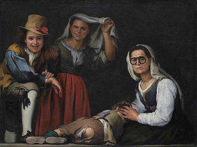 Four Figures On A Step Poster by Bartolome Esteban Murillo