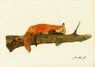 Fox Sleeping Painting Poster by Juan  Bosco