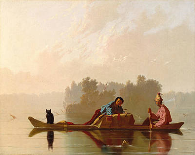 Fur Traders Descending The Missouri Poster by George Caleb Bingham