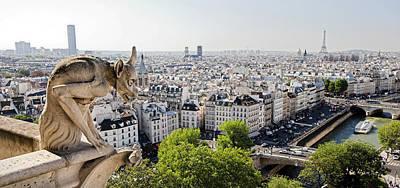Gargoyle Guarding The Notre Dame Basilica In Paris Poster by Pierre Leclerc Photography