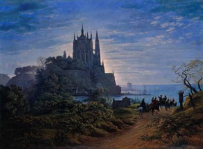 Gothic Church On A Rock By The Sea  Poster by Karl Friedrich Schinkel