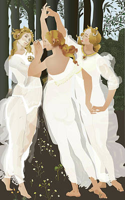 Poster featuring the digital art 3 Graces by Terry Cork