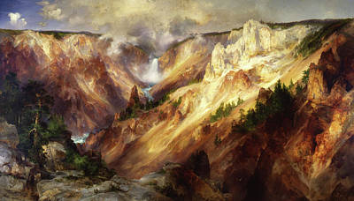 Poster featuring the painting Grand Canyon Of The Yellowstone by Thomas Moran