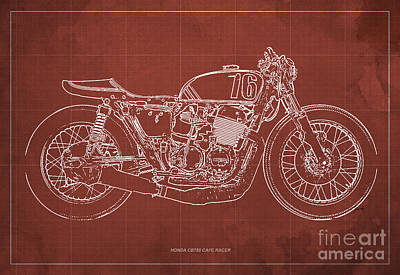 Honda Cb750 Cafe Racer Blueprint Poster by Pablo Franchi