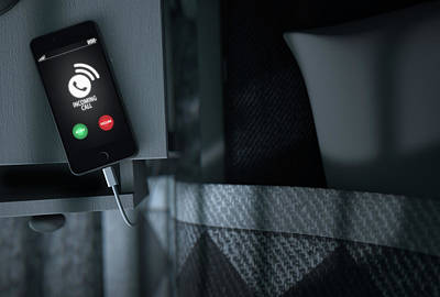 Incoming Call Cellphone Next To Bed Poster by Allan Swart