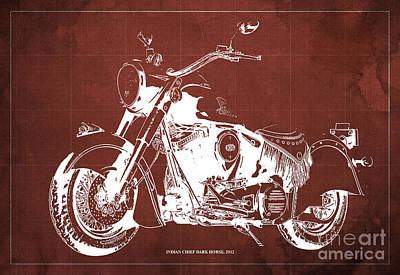 Indian Chief Dark Horse 2012  Blueprint Poster
