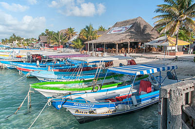 Isla Mujeres Boats Poster by Carol Ailles