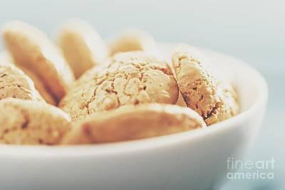 Italian Amaretti Biscuits In White Bowl Poster by Radu Bercan