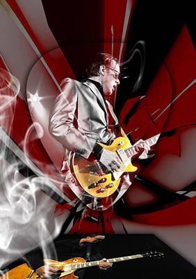 Joe Bonamassa Blue Guitarist Art Poster by Marvin Blaine