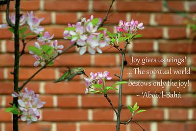 Joy Gives Us Wings Poster by Baha'i Writings As Art