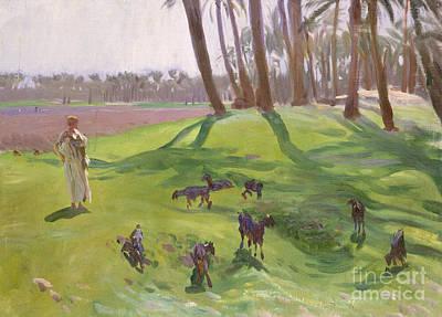 Landscape With Goatherd Poster by John Singer Sargent