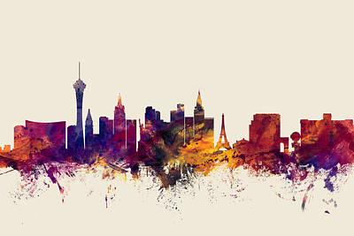 Las Vegas Nevada Skyline Poster by Michael Tompsett