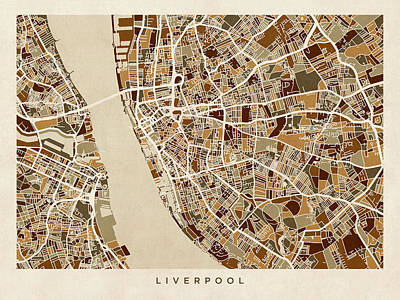Liverpool England Street Map Poster by Michael Tompsett