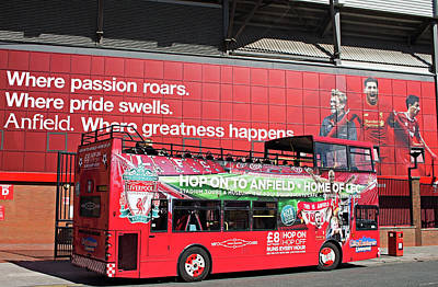 Liverpool Uk, 17th September 2016. Liverpool Football Club Kop Entrance With City Explorer Anfield Tour Bus Poster by Ken Biggs