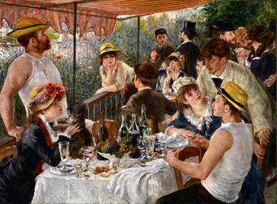Luncheon Of The Boating Party Poster by Auguste Renoir