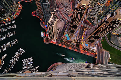 Majestic Colorful Dubai Marina Skyline During Night. Dubai Marina, United Arab Emirates. Poster