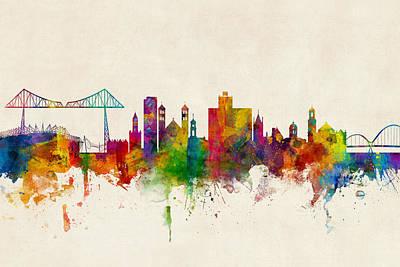 Middlesbrough England Skyline Poster by Michael Tompsett