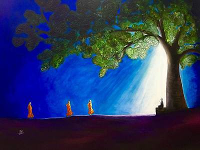 3 Monks And Meditating Buddha Poster