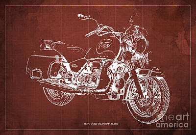 Moto Guzzi California 90  2012 Blueprint Poster by Pablo Franchi