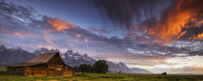 Mountain Barn In The Tetons Poster by Andrew Soundarajan