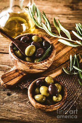 Olives On Branch Poster by Mythja Photography