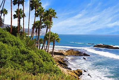 Palms And Seashore, California Coast Poster by Utah Images