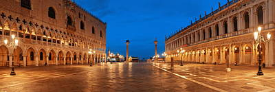 Poster featuring the photograph Piazza San Marco Night by Songquan Deng