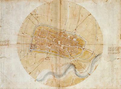 Plan Of Imola Poster by Leonardo da Vinci