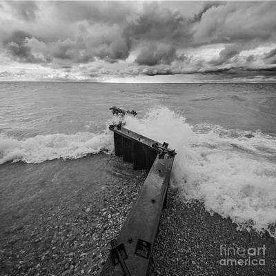 Point Betsie Waves In Black And White Poster by Twenty Two North Photography
