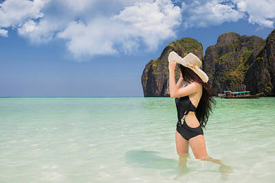 Portrait Of Woman In Black Swim Posing On Tropical Beach Poster by Anek Suwannaphoom