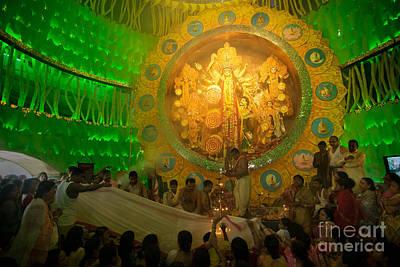 Priests Praying To Goddess Durga Durga Puja Festival Celebration Kolkata India Poster by Rudra Narayan  Mitra