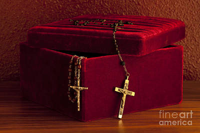 Red Velvet Box With Cross And Rosary Poster by Jim Corwin