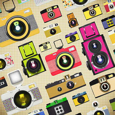 Retro Camera Pattern Poster by Setsiri Silapasuwanchai