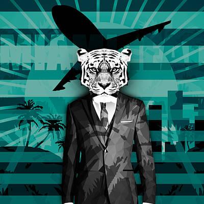 Retro Miami Tiger Poster