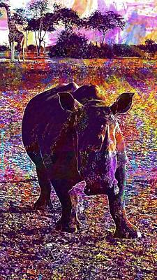 Poster featuring the digital art Rhino Africa Namibia Nature Dry  by PixBreak Art