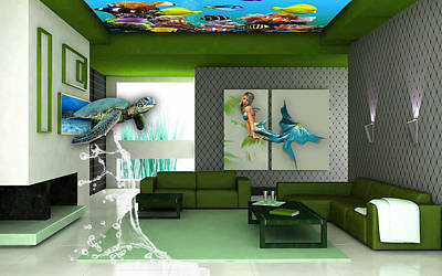 Rooftop Saltwater Fish Tank Art Poster by Marvin Blaine