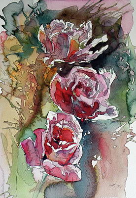 Poster featuring the painting Roses by Kovacs Anna Brigitta