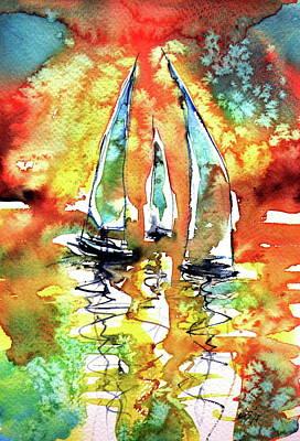Sailboats Poster by Kovacs Anna Brigitta