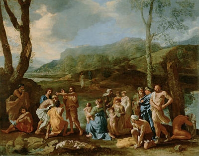 Saint John Baptizing In The River Jordan Poster by Nicolas Poussin