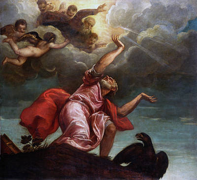 Saint John The Evangelist On Patmos Poster by Titian