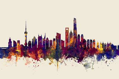 Shanghai China Skyline Poster by Michael Tompsett