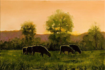Poster featuring the painting Sheep In The Pasture by John Reynolds