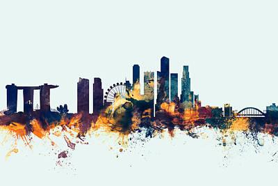 Singapore Skyline Poster by Michael Tompsett