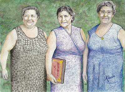 Poster featuring the drawing 3 Sisters by Albert Puskaric