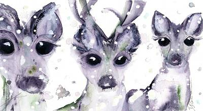 Poster featuring the painting 3 Snowy Deer by Dawn Derman