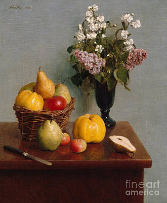 Still Life With Flowers And Fruit Poster by Henri Fantin-Latour