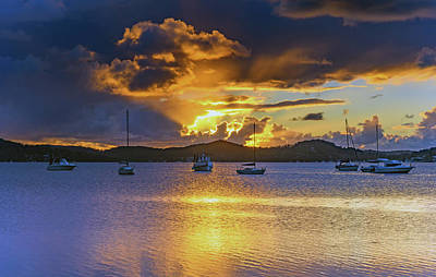 Sunrise Waterscape With Clouds And Boats Poster